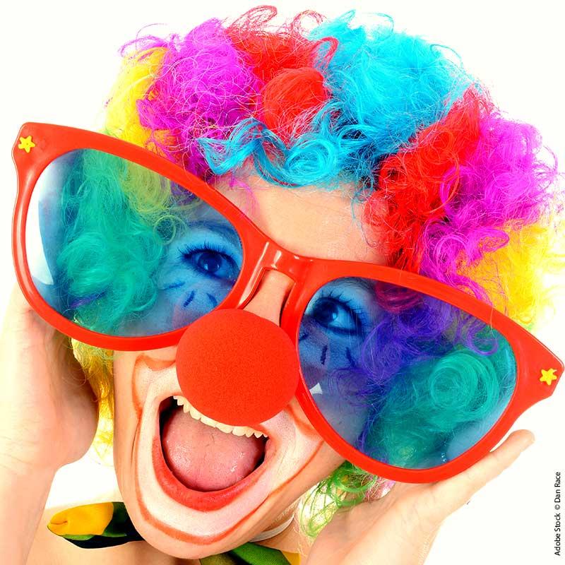 Clown mit Brille Dank für Spende