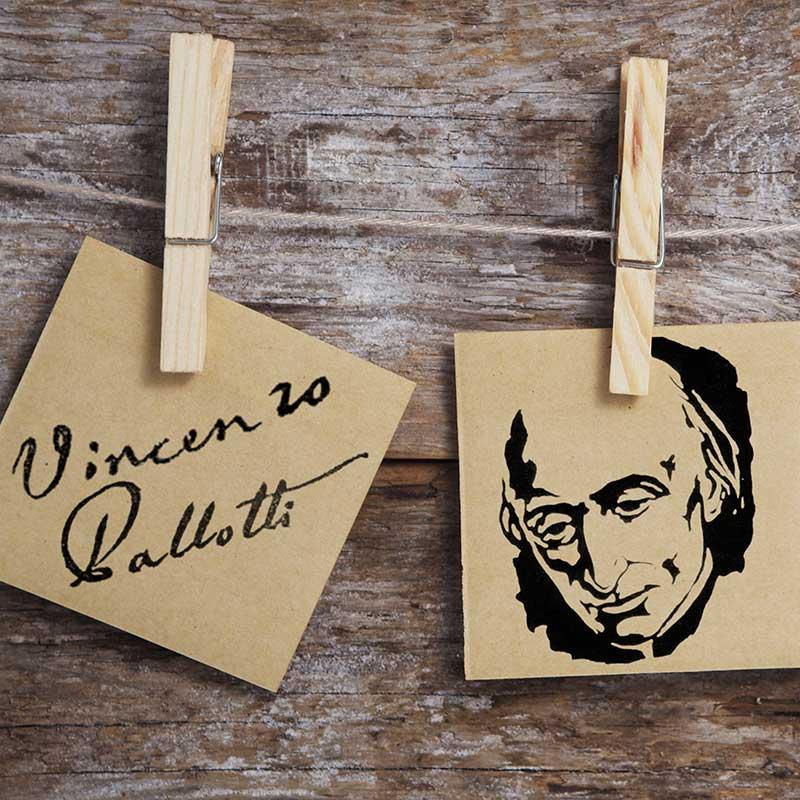 Vinzenz Pallotti Unterschrift und Portrait als Holzschnitt