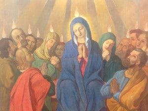 """""""Maria, Königin der Apostel"""" (Pfinstereignis), gemalt im Auftrag Vinzenz Pallottis von Serafion Cesaretti, 1848, Rom"""