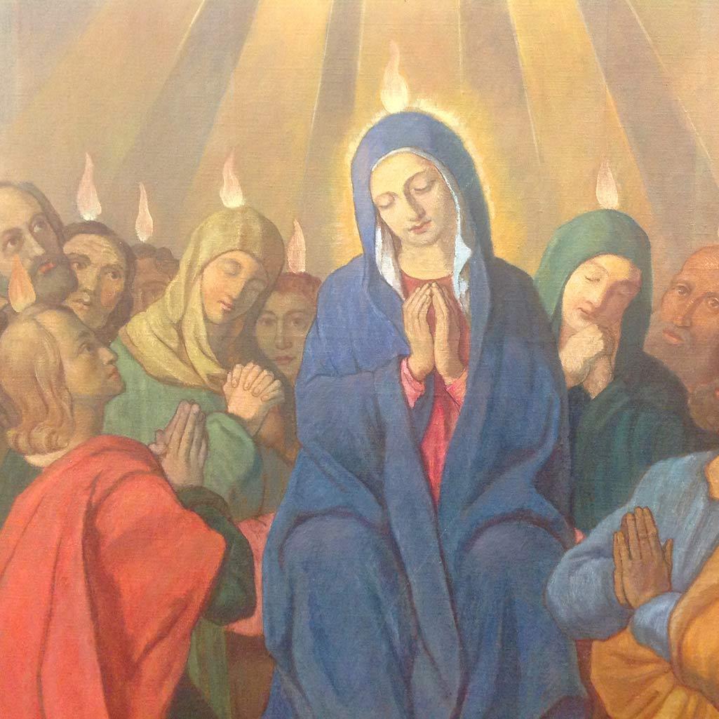"""""""Maria, Königin der Apostel"""" (Pfinstereignis), gemalt im Auftrag Vinzenz Pallottis von Serafion Cesaretti, 1848, Rom (Ausschnitt)"""