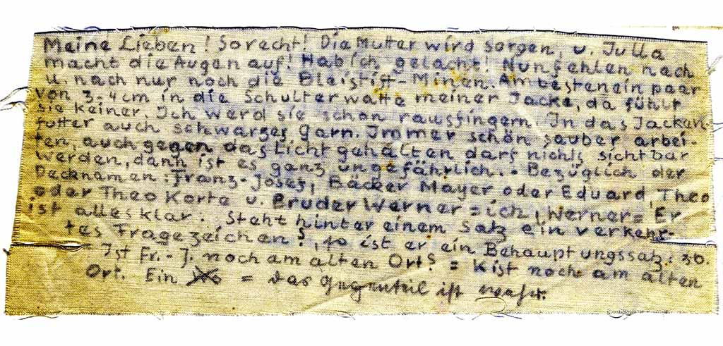 Kassiber von Pater Wilhelm Poieß SAC