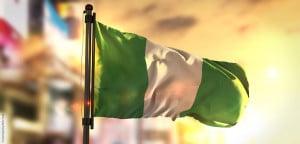 Flagge von Nigeria, dem bevölkerungsreichten Land Afrikas
