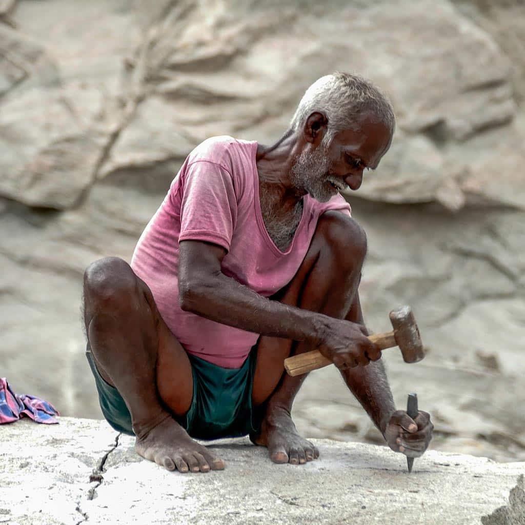 Arbeiter im Steinbruch bei Madurai