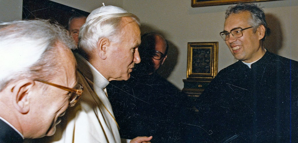 Papst Johannes Paul II und Pater Wolfgang Weiss SAC