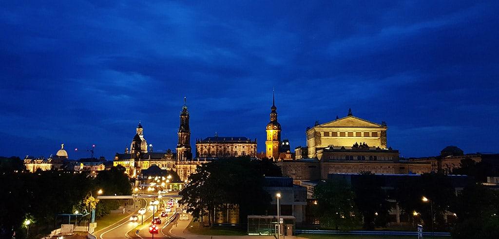Ansicht von Dresden bei Nacht